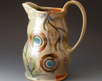 Ceramic Water Pitcher, Celadon and Shino Colors, Handmade Pouring Vessel, Drinkware, Pitchers, Jug