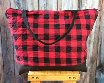 Weekender Bag - Travel Gift - Buffalo Plaid Bag - Weekender Bag for Women- Wanderlust Gift- Weekend Bag -Travel Gifts -Weekend Bag for Women