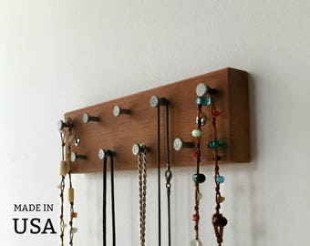 Jewelry Display Rack - Wood Jewelry Rack - Wall Mount - Reclaimed Wood - With Metal Hooks