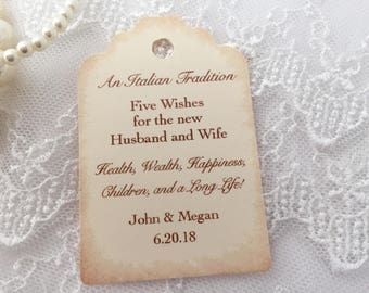 Jordan Almond Tags, Almond Favor Tags, Wedding Almond Tags, Five Wishes Poem, Set of 10