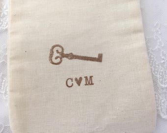 Key Muslin Bags, Skeleton Key Bags, Skeleton Key Muslin Bags, Wedding Initials, Set of 10