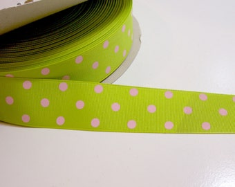 Green Ribbon, Schiff Polka Dot Grosgrain Ribbon 1 1/2 inches wide x 10 yards, Lime Green and Pink Polka Dot Ribbon