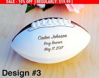 Ring Bearer Gift, Engraved Football, Mini Football, Groomsmen, Engraved Gift, Christmas Gift, Sports, Keepsake, Design #3