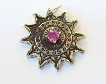 Handmade Fine Silver Sunburst Pendant Necklace with Fully Faceted Genuine Red Tourmaline - Natural Mined Gemstone