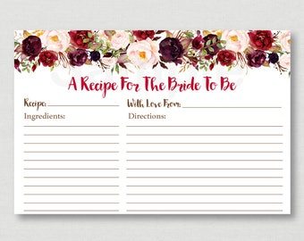 Red Floral Bridal Shower Recipe Cards / Floral Bridal Shower / Fall Bridal Shower / Marsala / Printable Recipe Card / INSTANT DOWNLOAD B118