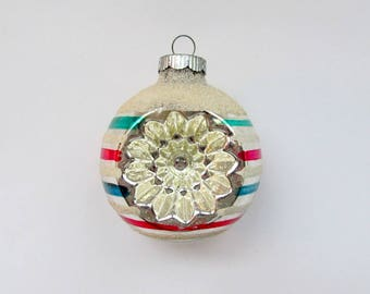 Vintage Christmas Ornament/ Glass Christmas Ornament/ Mid Century Indents/ Made in USA