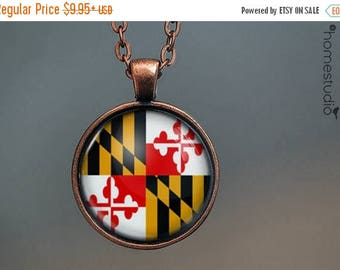 ON SALE - Maryland Flag : Glass Dome Necklace, Pendant or Keychain Key Ring. Gift Present metal round art photo jewelry by HomeStudio