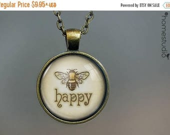 ON SALE - Bee Happy : Glass Dome Necklace, Pendant or Keychain Key Ring. Gift Present metal round art photo jewelry by HomeStudio