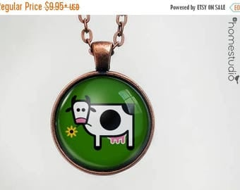 ON SALE - Cow : Glass Dome Necklace, Pendant or Keychain Key Ring. Gift Present metal round art photo jewelry by HomeStudio