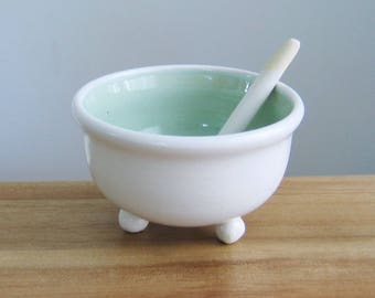 Salt Cellar with Ceramic Spoon, Small Mint Green Pottery Salt Bowl and White Spoon, Salt Pig, Hand Thrown Footed Stoneware Chef Gift