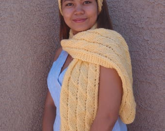Bright yellow scarf and headband set, knitted scarf and headband, bright yellow, women, warm winter scarf set, long yellow scarf, headband