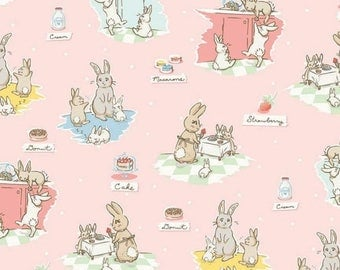 "ON SALE Penny Rose Fabrics ""Bunnies and Cream"" Pink Main"