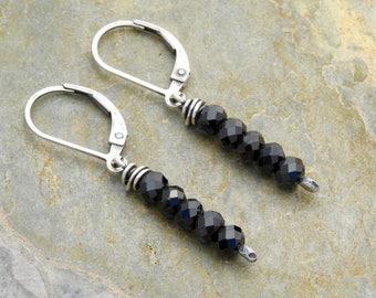Black Spinel Earrings, Sterling Silver, Faceted Black Gemstones, Black Dangle Earrings, Lever Back Ear Wire, Black Spinel Jewelry, #4835
