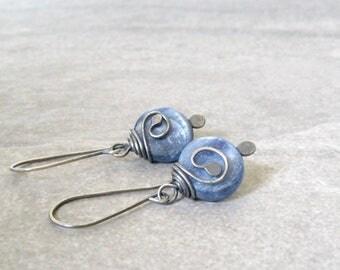 blue dangle earrings, kyanite earrings, silver and gemstone earrings, oxidized jewelry, boho blue earrings
