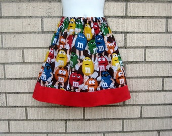 M&M's and friend Skirt, Candy Skirt, Size 6M to 8Y