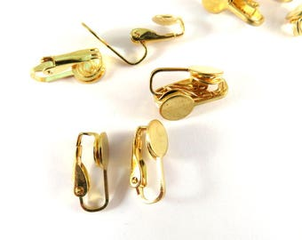 10 Gold Plated Flat Pad Clip On Ear Wire 17mm with 8mm Glue Pad - 10 pc - F4199EC-G10
