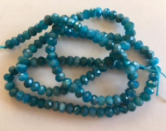 Faceted Blue Apatite Beads-5mm Apatite Bead Strand
