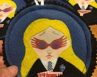 Luna Lovegood- Harry Potter Christmas Tree Ornament, felt hand drawn wall hanging, witch Quibbler Hogwarts Spectrespecs