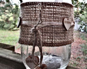 5 Burlap Jar Sleeves , Mr & Mrs,  Burlap  and Ribbon, Slip on Covers,Wooden hearts