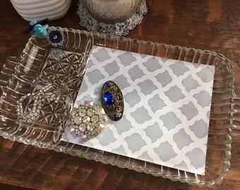 Upcycled vintage vanity tray - blue bird