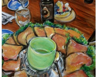 Wall Art - Original Acrylic Painting - Salmon on Rye - Still Life - Leah Reynolds