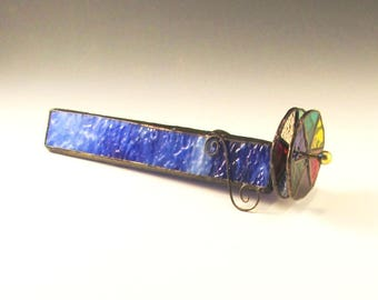 Stained Glass Kaleidoscope - Textured Cobalt Blue with White Streaks