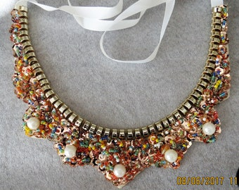 Sequin and beaded neckace