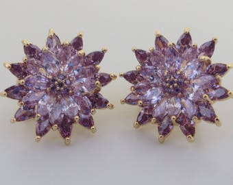 Purple flower stud earrings. cubic zirconia crystal stud earrings
