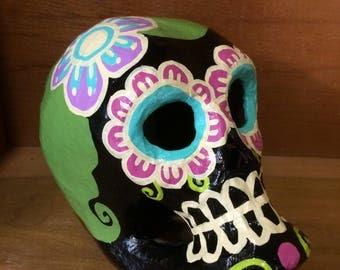 Handpainted Dia de Los Muertos Paper Mache Sugar Skull