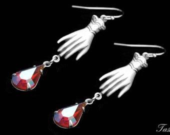 Vintage Swarovski Victorian Hand Earrings, Teardrop Crystal Rhinestone Jewelry