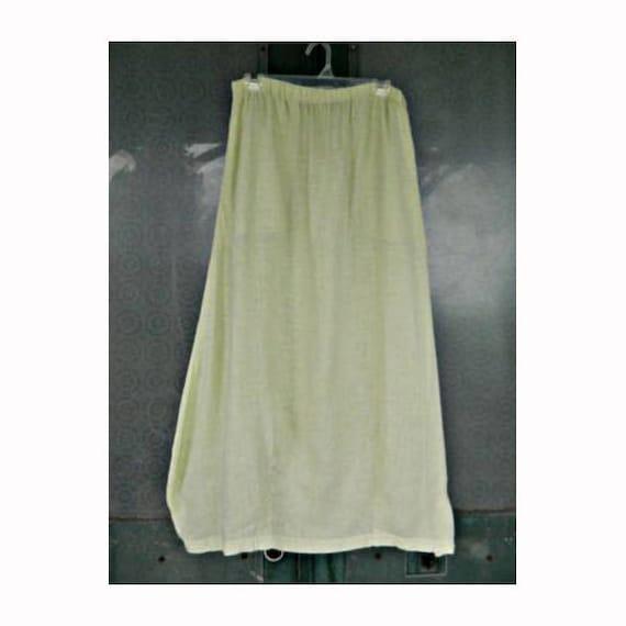 Blue Fish Long Skirt with Pockets -1- Pale Celery Green Lt Wt Linen