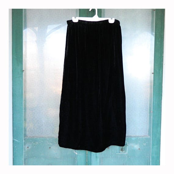 Angelheart Designs Engelhart Viridescent Velvet 1997 Long Skirt -L- Black Rayon Velvet