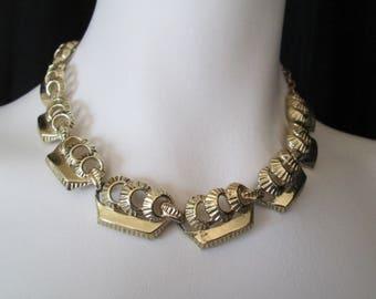 Gold Sailing Ship choker necklace 1950's