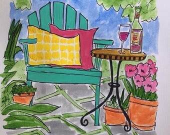 Wine in the Garden...yellow checked pillow