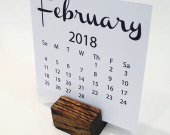 2018 Desktop Calendar (4 x 4) with Reclaimed Oak Wood Stand