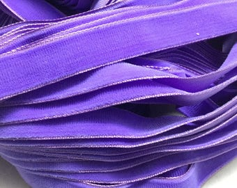 Vintage French Rayon VELVET Ribbon Taffeta Back -PURPLE by the yard 5/8 inch