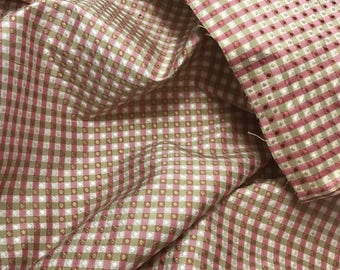 Silk Taffeta Fabric - Cranberry Red & Ivory Jacquard Check - fat 1/4