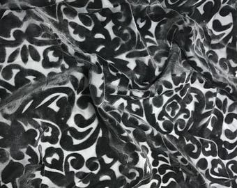 Hand Painted Burnout Silk Velvet Fabric - Pewter on Black Scroll  - Fat 1/4