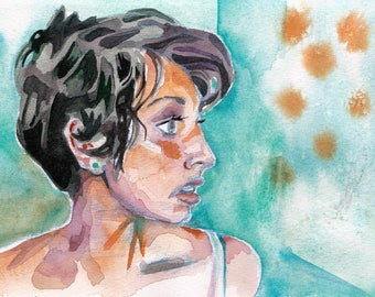 Seeing Stars - Watercolor Portrait of a Short Hair Woman - Stylish Haircut Painted in Watercolor - Hair Salon Decor - Original Portrait Art