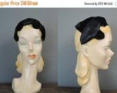 20% Sale - Vintage Black Velvet & Satin Hat,  21 inch head Evening Cocktail Eggshell Hat