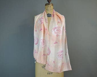 Vintage Scarf Pale Pink Floral with Sheer Stripes, Oblong 58x13 inches