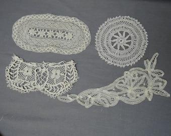 4 Antique Edwardian Lace Pieces, Vintage 1900s Handmade Bobbin Lace