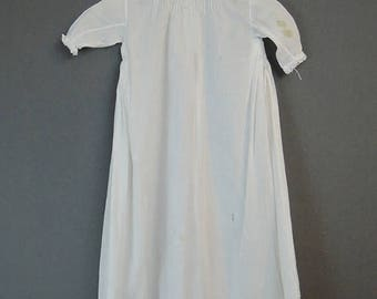 20% Sale - Antique Baby  Gown with Delicate Pintucks & Embroidery, 1900s 1920s 24 chest