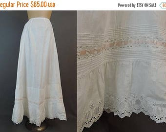 20% Sale - Vintage White Cotton Petticoat Slip, up to 31 inch waist, Lace & Ribbon Early 1900s Edwardian