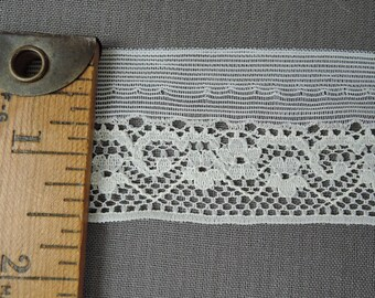 Vintage 7/8 inch Wide Lace with 1/2 inch edge, White Nylon, 20 Yards