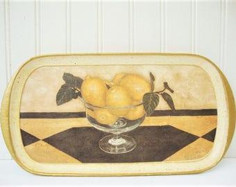 vintage italian serving tray bowl of lemons