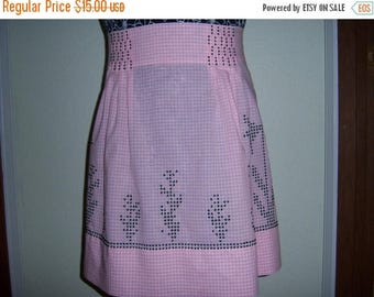 Close Out Sale Vintage Pretty in Pink and Black Half Apron Checks and Embroidery vestiesteam
