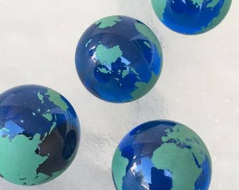 4 World Earth Glass Marbles Continents  23mm Atlas Travel  Colored Clear Transparent Blue