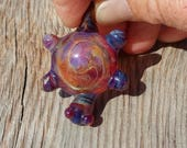 Hand Sculpted Glass Turtle Pendant Bead with Amber Purple Color