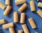 Fifty Small Cylindrical Corks, 3/8 x 7/8 inch mini corks, natural cork for crafting and embellishing